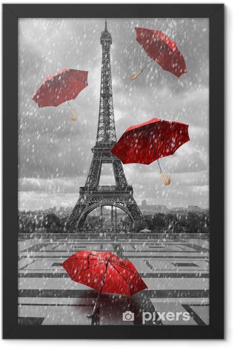 Plakat w ramie Wieża Eiffla z latającymi parasolami. -