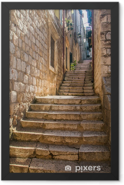 Narrow street and stairs in the Old Town in Dubrovnik, Croatia, Mediterranean ambient Framed Poster - Other