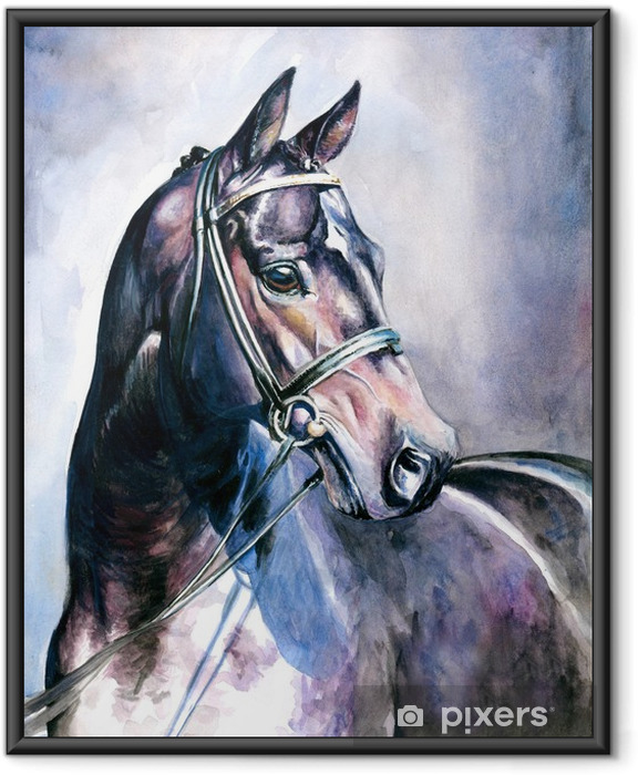 Black horse watercolor painted. Framed Poster - Styles