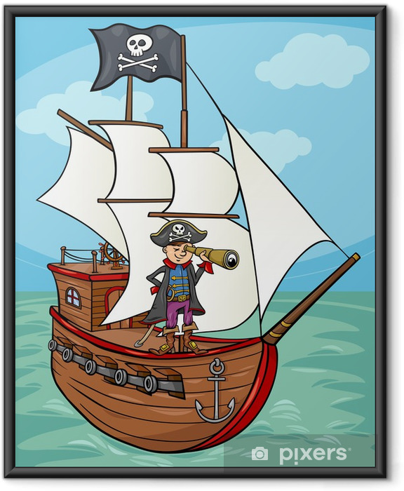 Póster Enmarcado Pirata en la ilustración de dibujos animados barco - Otras emociones