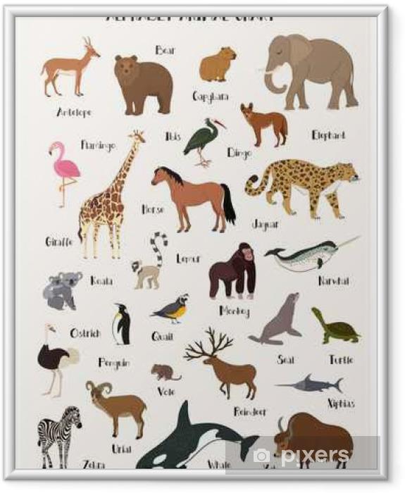 Gerahmtes Poster Alphabet Tier-Chart-Set für Kinder - Tiere