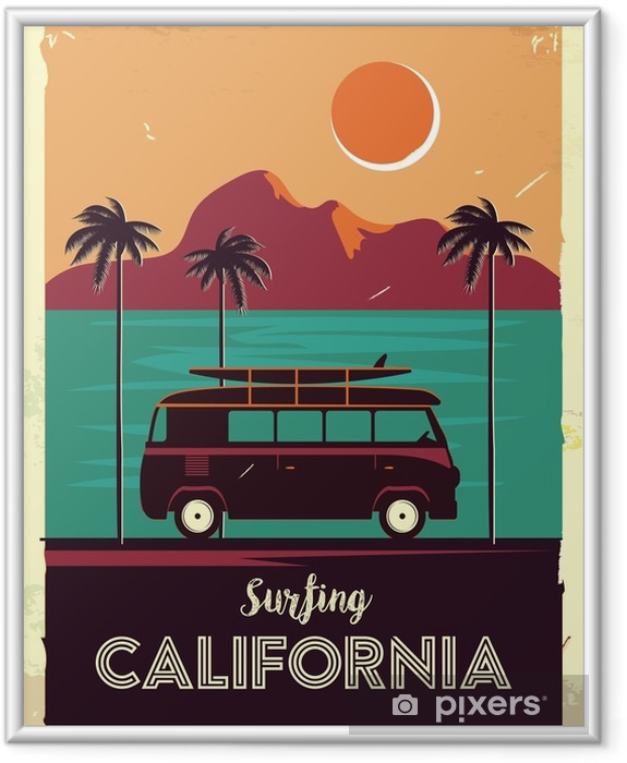 Grunge retro metal sign with palm trees and van. Surfing in California. Vintage advertising poster. Old fashioned design Framed Poster - Landscapes