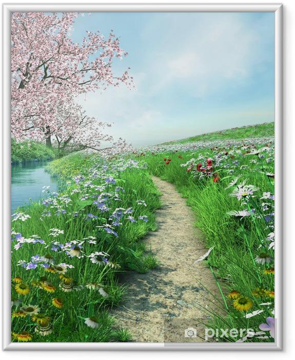 Ścieżka nad rzeką na wiosennej łące Framed Poster - Themes