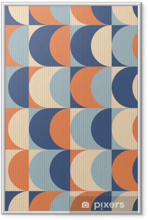 Plakát v rámu Bezproblémový vinobraní geometrický vzor - Grafika