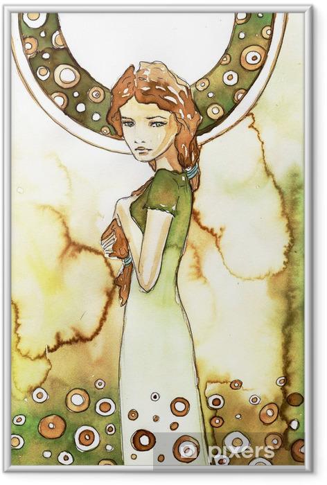 Plakat w ramie Piękna dziewczyna w zielonej secesji - Przeznaczenia
