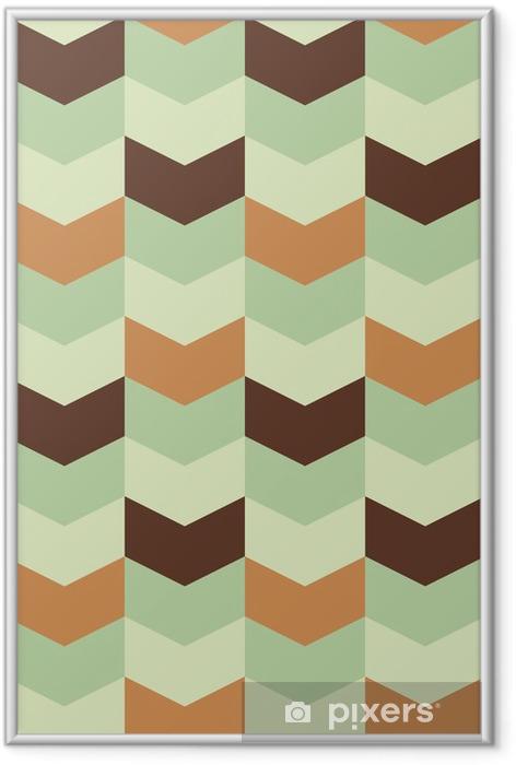 Ingelijste Poster Abstract retro geometrisch patroon - Abstract