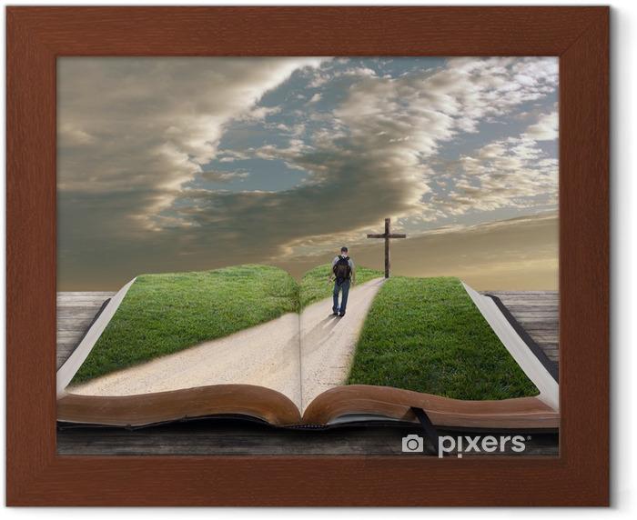 Plakat w ramie Otwórz Biblię z człowiekiem i krzyża - Zabytki