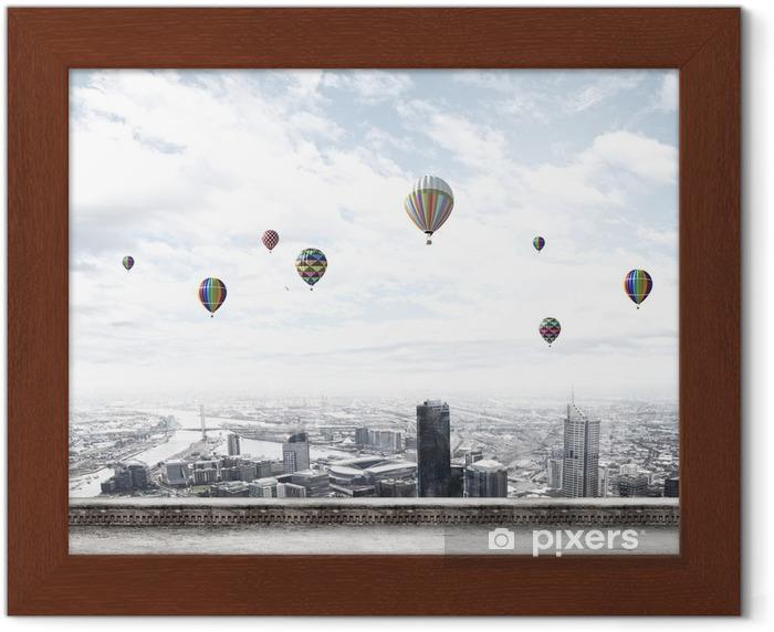 Flying balloons Framed Poster - Urban