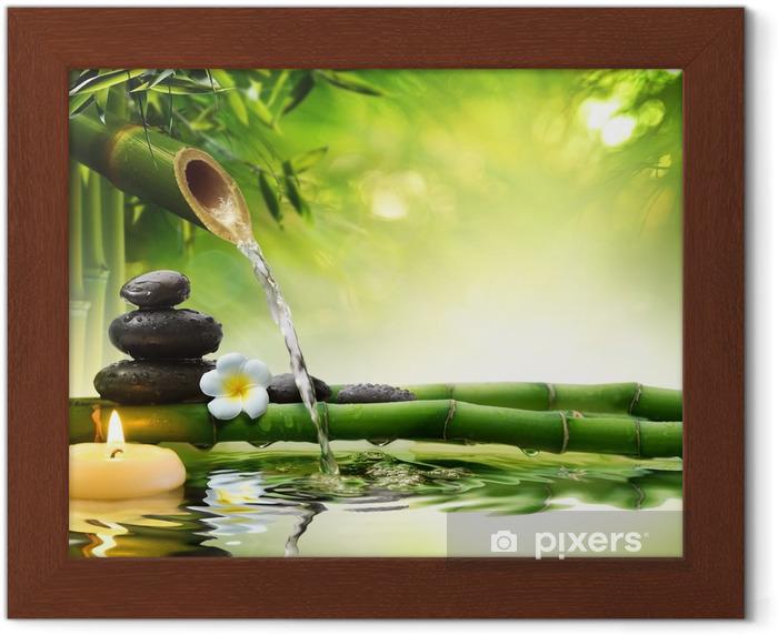 Poster in Cornice Pietre spa in giardino con acqua di flusso - Stili