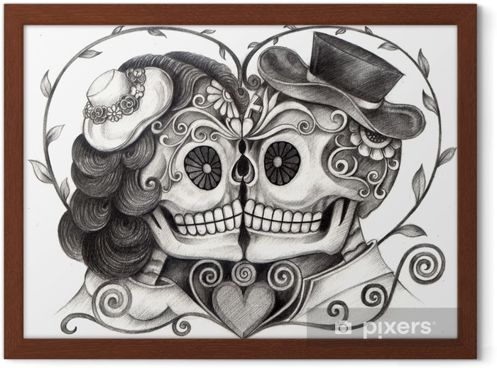 442f40272 Art Skull Day of the dead.Art design skull wedding in love action smiley  face day of the dead festival hand pencil drawing on paper. Framed Poster