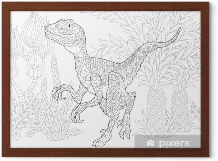 Gec Kretase Donemin Stilize Velociraptor Dinozor Doodle Ve