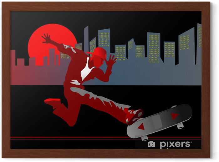 silhouette of a skateboarder in downtown Framed Poster - Skateboarding