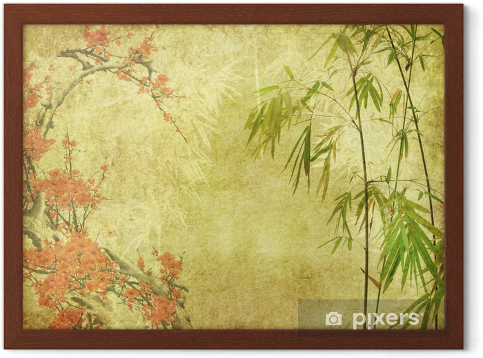 bamboo and plum blossom on old antique paper texture . Framed Poster - Styles