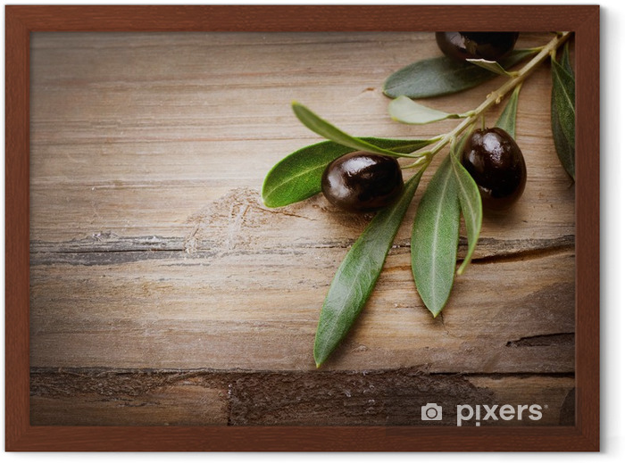 Olives on a Wood background Framed Poster - Olives