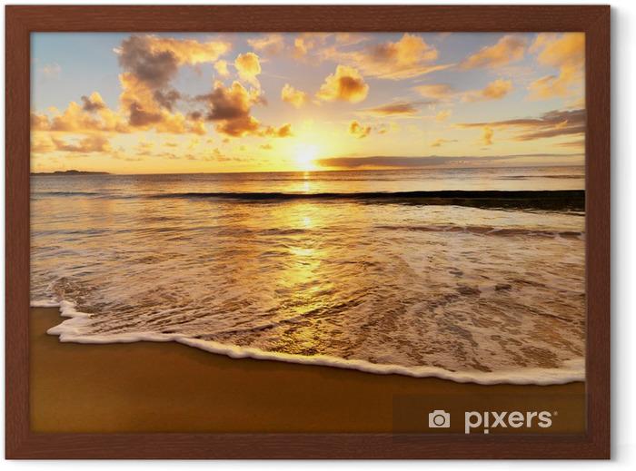 Ingelijste Poster Prachtige zonsondergang op het strand - Thema's