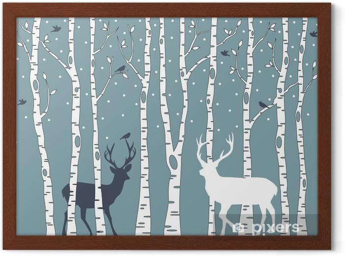 Póster Enmarcado Árboles de abedul con ciervos, vector de fondo - Estilos