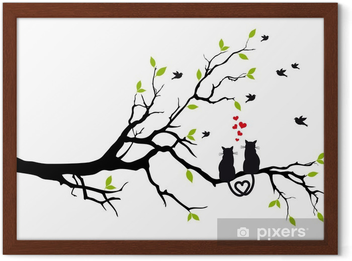 cats in love on tree branch, vector Framed Poster - Destinations
