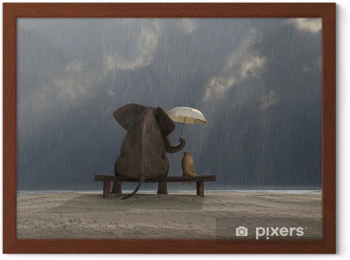 Póster Enmarcado Elefante y el perro se sientan bajo la lluvia - Vida