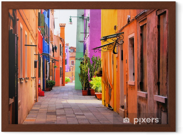 Plakat w ramie Kolorowa ulica we Włoszech -
