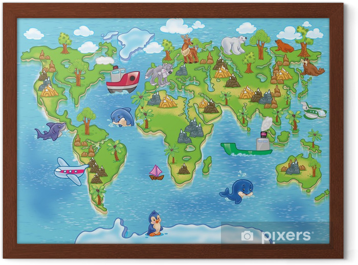Póster Enmarcado Niños mapamundi - iStaging