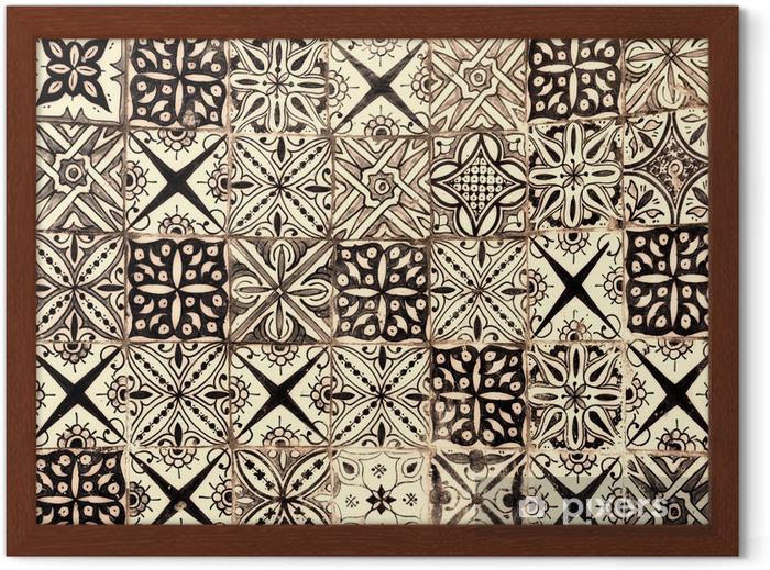 Gerahmtes Poster Marokkanischen Vintage Fliese Hintergrund - Stile