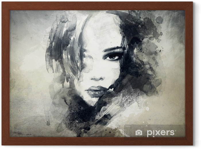 abstract woman portrait Framed Poster -