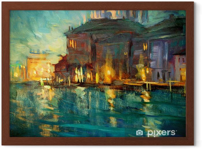 Gerahmtes Poster Nacht-Landschaft nach Venedig, Gemälde von Öl auf Sperrholz, illustrat - Natur