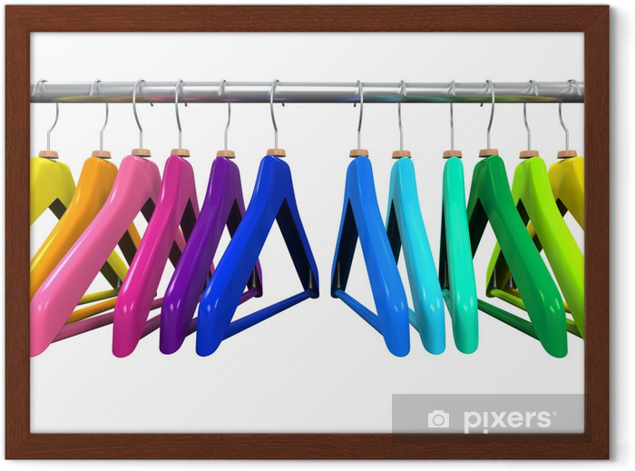 Colorful Clothes Hangers Framed Poster - Sales