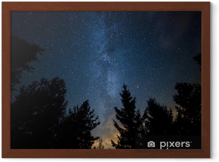 Milky Way over the Forest Framed Poster - Themes