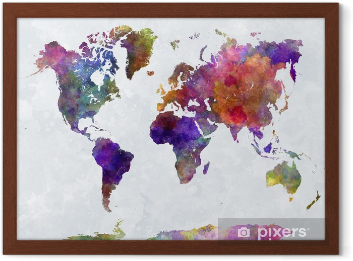 World map in watercolorpurple and blue Framed Poster -