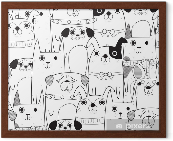 Seamless Dogs pattern Framed Poster - Animals
