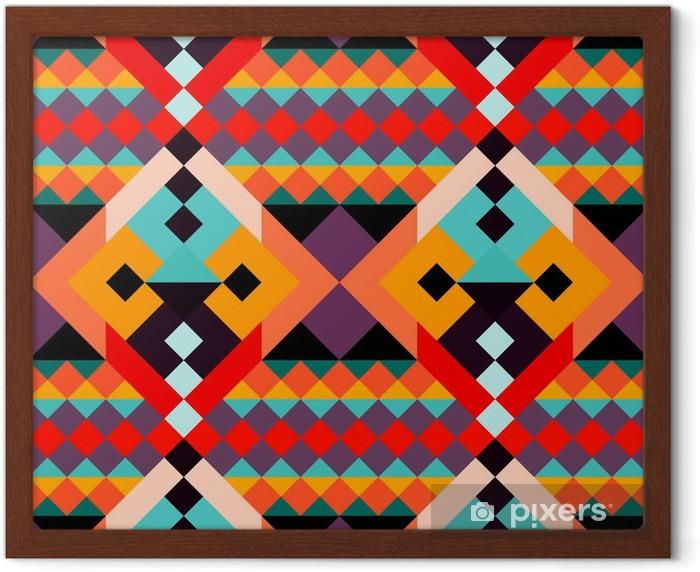Ingelijste Poster Gekleurde geometrische polygonen naadloos patroon - Grafische Bronnen