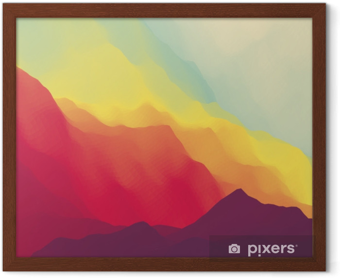 Mountain Landscape. Mountainous Terrain. Mountain Design. Vector Silhouettes Of Mountains Backgrounds. Sunset. Can Be Used For Banner, Flyer, Book Cover, Poster, Web Banners. Framed Poster - Landscapes
