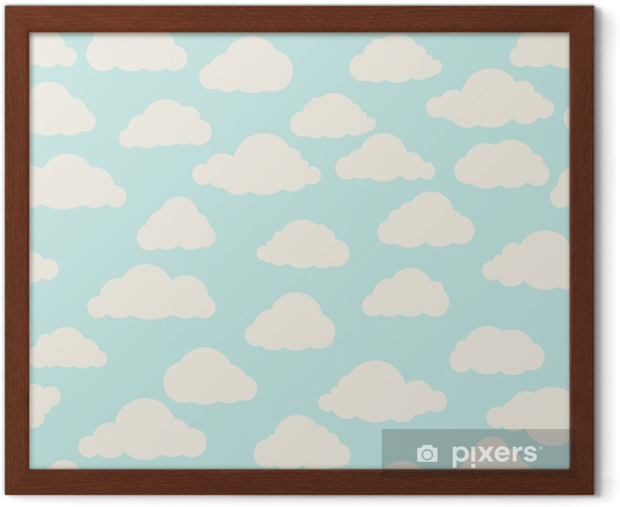 Cloud seamless pattern. Cloudy sky backround Nature ornament Framed Poster - Graphic Resources