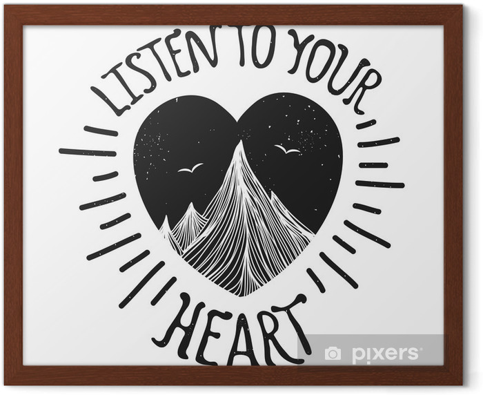 Vector illustration with mountains inside the heart Framed Poster - Landscapes
