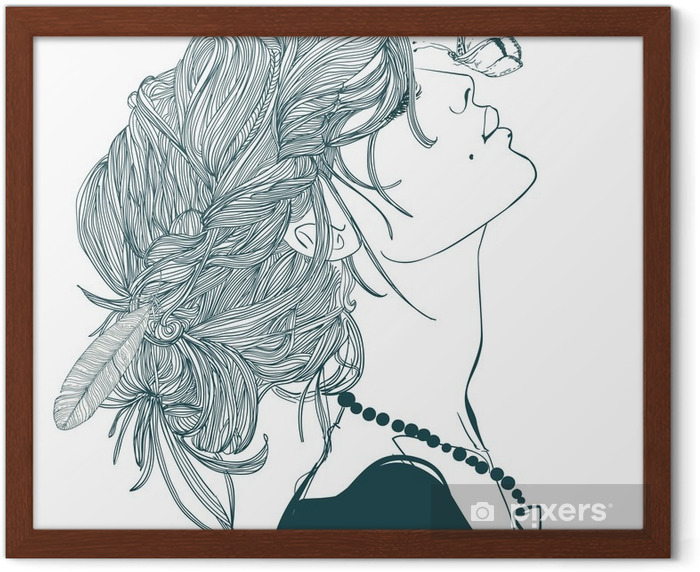 profile of beautiful woman with butterfly Framed Poster - People