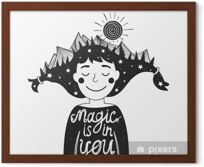 typography poster with girl and mountains in hair and quote Framed Poster - People