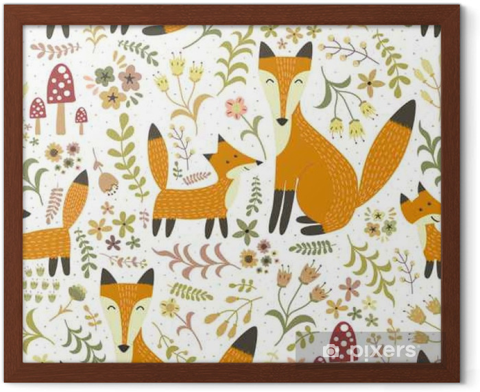 Adorable seamless pattern with cute foxes - Mother fox and her baby Framed Poster - Graphic Resources