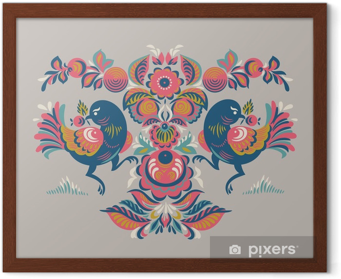 Floral pattern with two birds in Gorodets style Framed Poster - Plants and Flowers