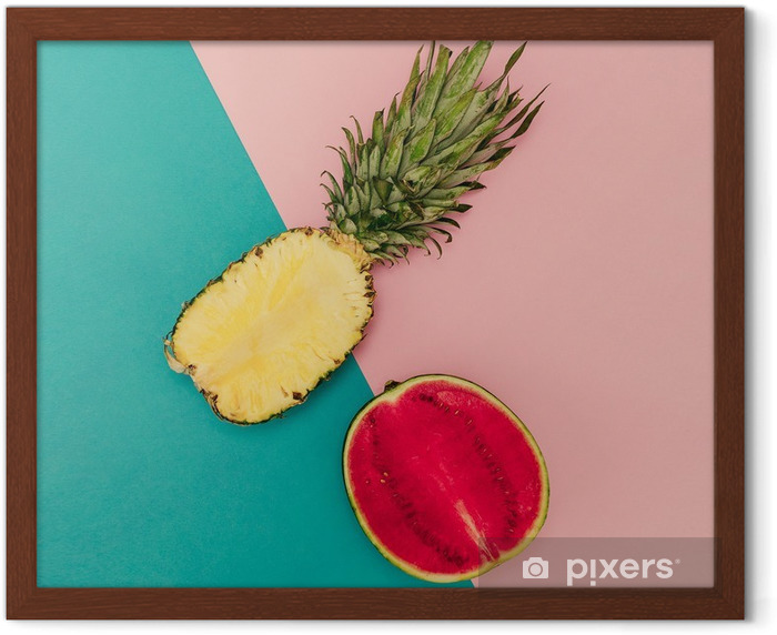 Tropical Mix. Pineapple and Watermelon. minimal Style Framed Poster - Lifestyle