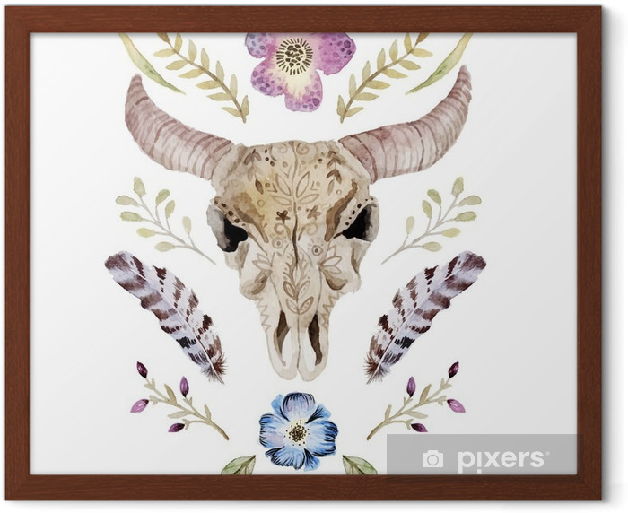 Watercolor vector boho illustration with skull Framed Picture - Graphic Resources