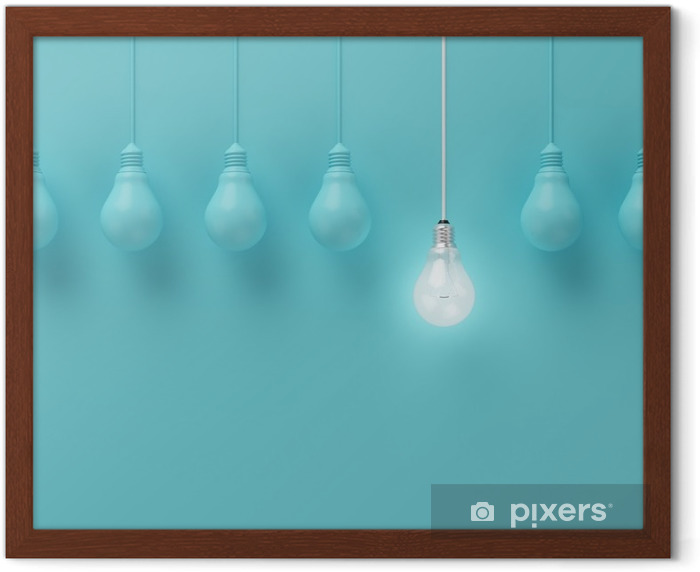 Hanging light bulbs with glowing one different idea on light blue background , Minimal concept idea , flat lay , top Framed Poster - Business