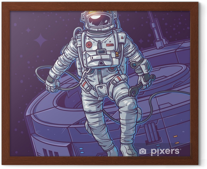 Vector illustration cosmonaut Framed Poster - Graphic Resources