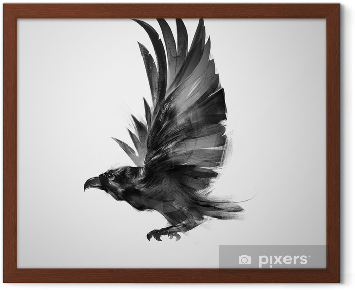 isolated graphically flying bird black crow Framed Poster - Animals