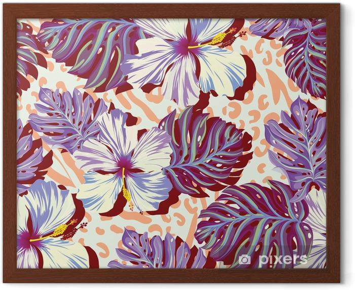 Póster Enmarcado Patrón de vectores sin fisuras para los hombres, flores de la hawaiana en colores apagados. - Estilo de vida