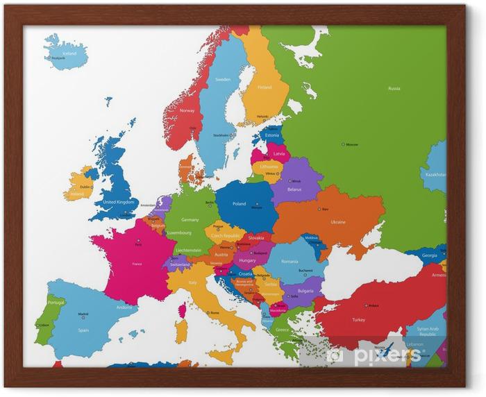 Poster en cadre Colorful carte de l'Europe avec les pays et capitales - Thèmes