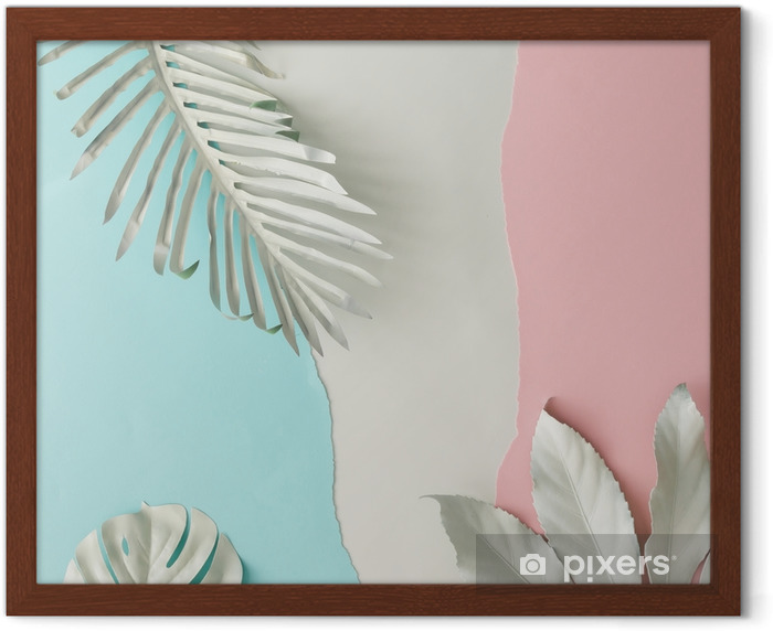 Creative layout made of white painted tropical leaves and pastel pink and blue paper backround. Minimal flat lay. Framed Picture - Plants and Flowers