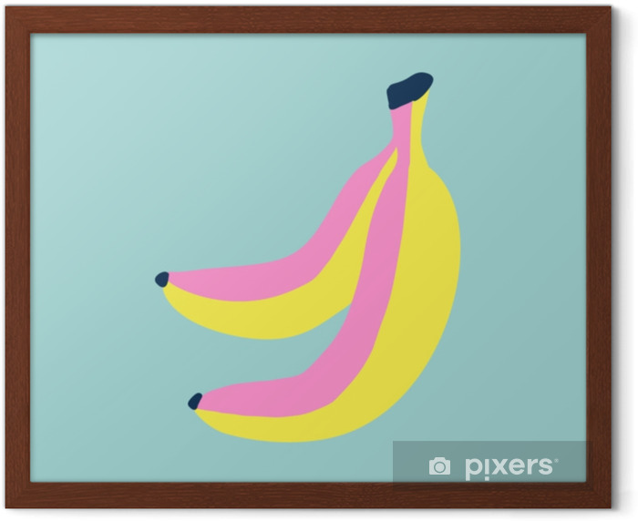 Hand draw banana in sketch style. Beach holiday. Framed Poster - Landscapes