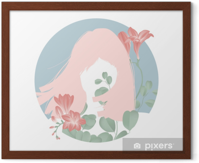 Pink hair girl silhouette with blooming red freesia flowers in blue circle frame Framed Poster - People