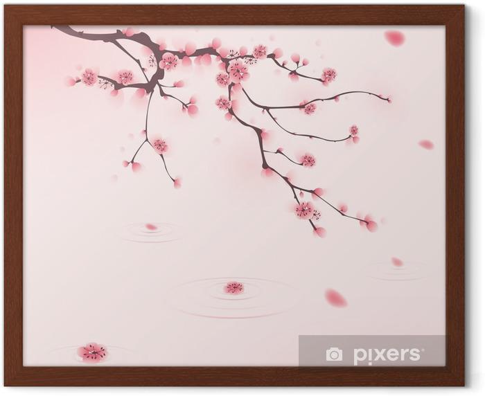 Poster en cadre Peinture de style oriental, fleur de cerisier au printemps - Styles